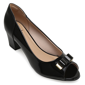 Peep Toe Lady Queen AM18-5505 Verniz Preto TAM 40 ao 44