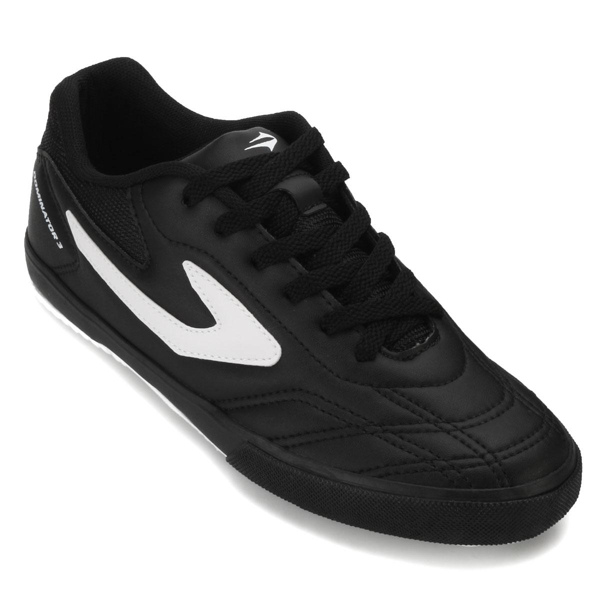cab7b2de9e038 Chuteira Futsal Topper Dominator III Preto-Branco   Alex Shoes